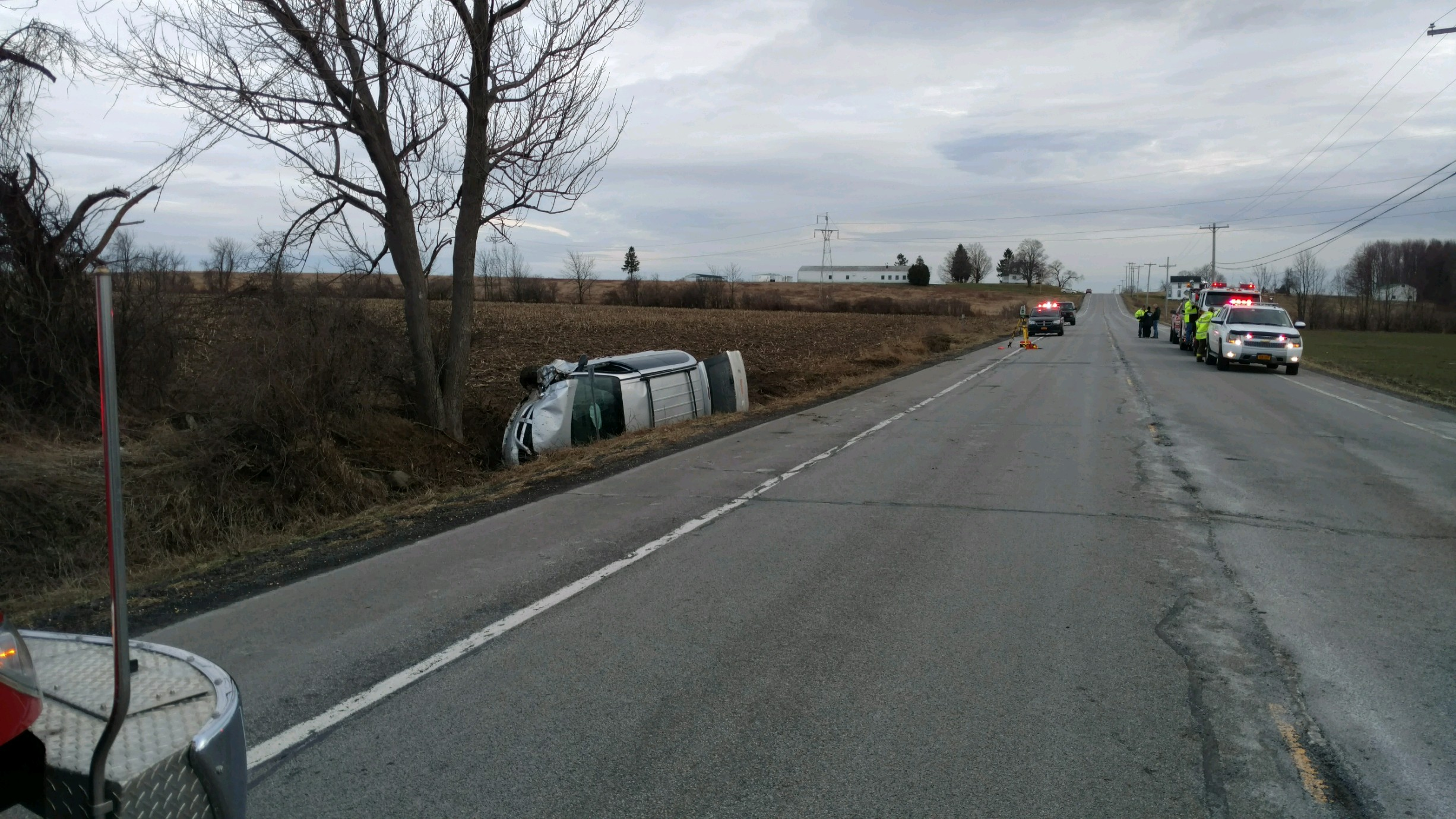 The scene of Monday's fatal accident in Genesee County. (Photo provided by State Police)