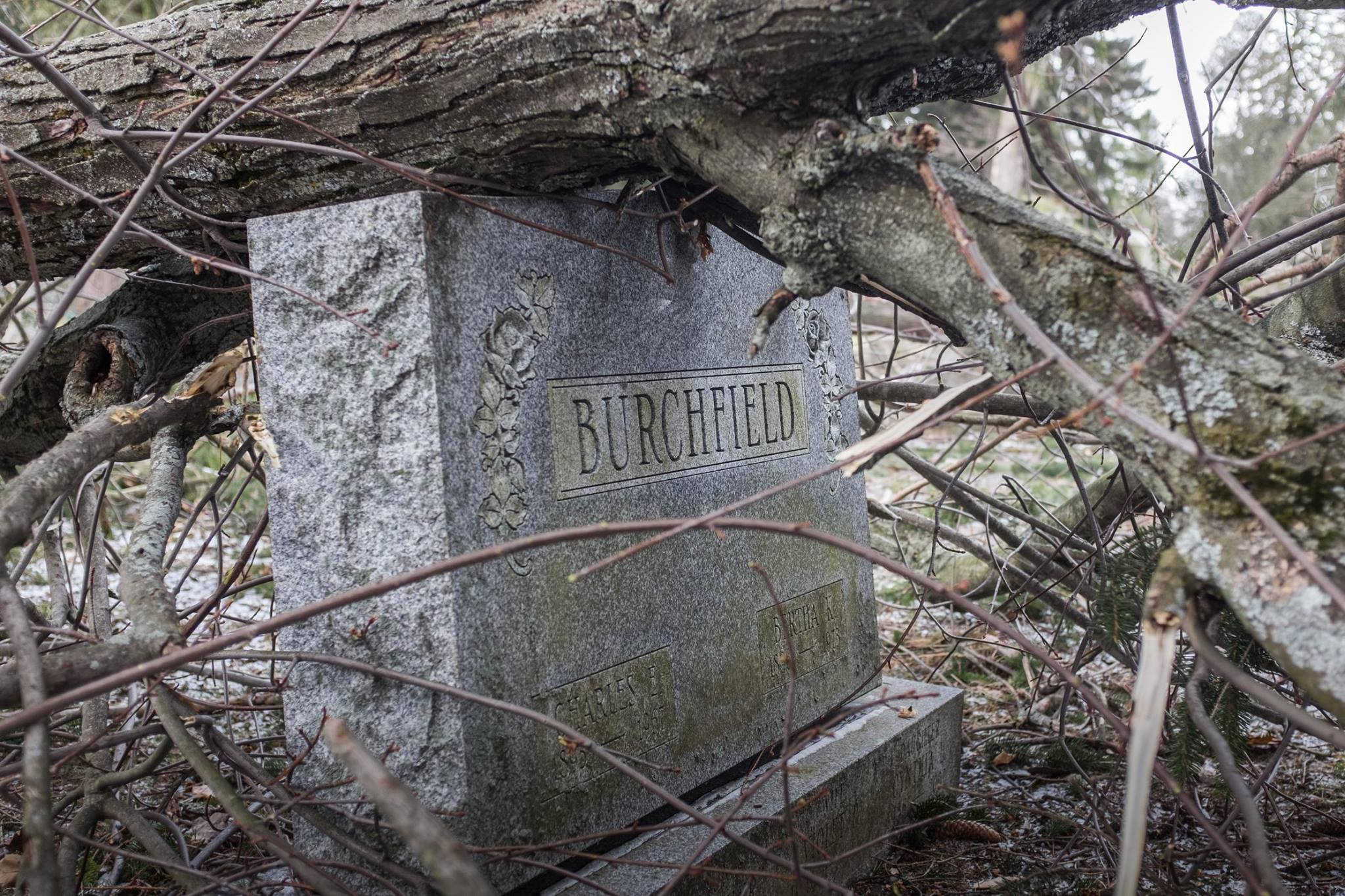 A tree fell on the grave of Charles E. Burchfield and his wife, Bertha, during a recent wind storm.
