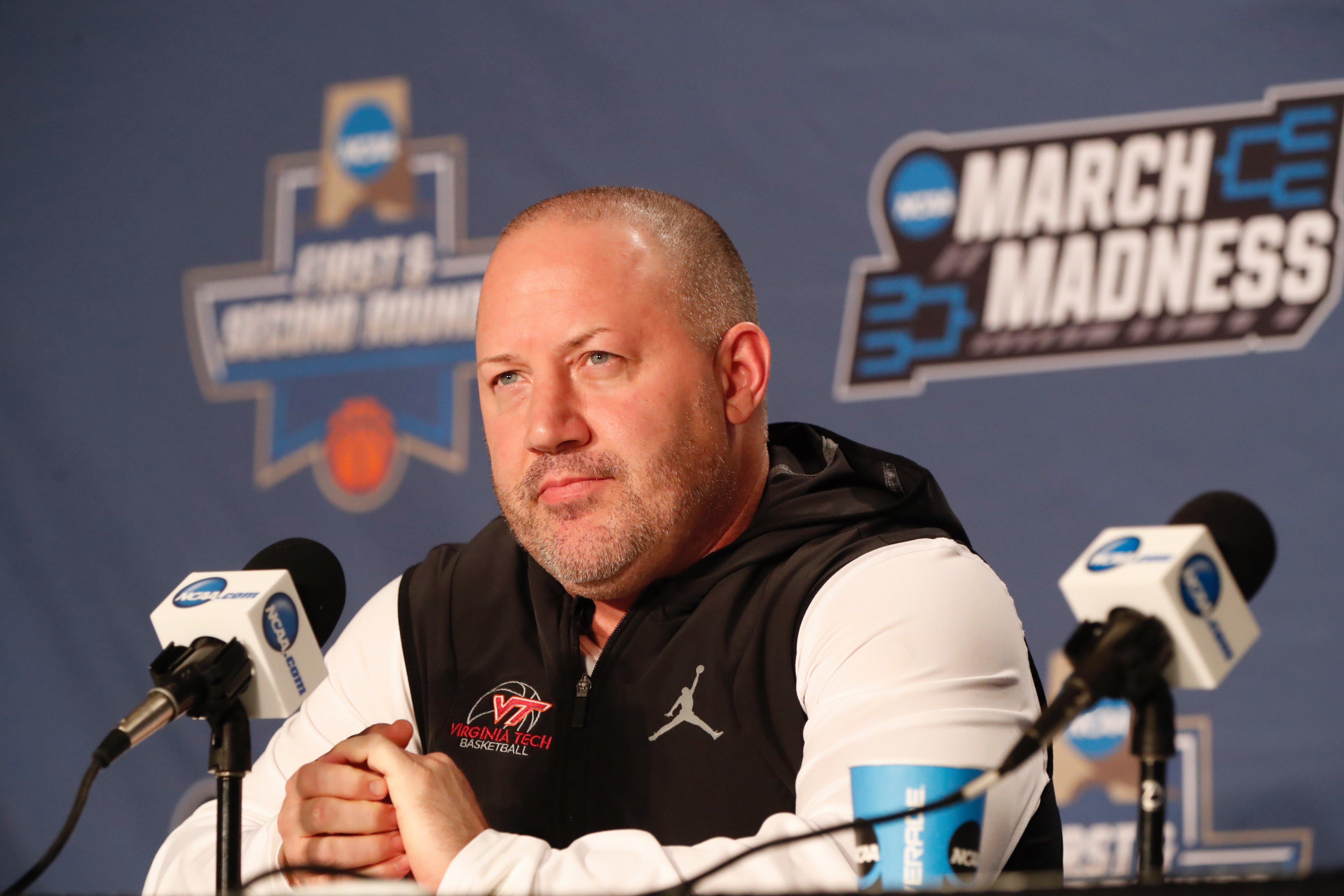 Despite it becoming a sticky situation, Virginia Tech coach Buzz Williams is sticking with suits. (Harry Scull Jr./Buffalo News)