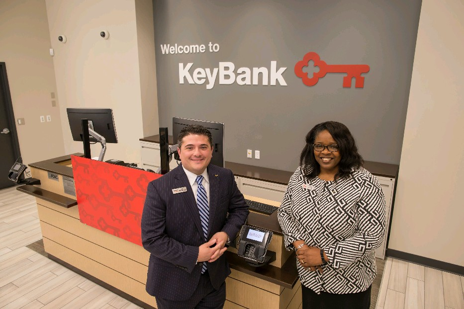 Joseph Philippone (left), KeyBank Northtown area retail leader, and Trina Burruss, Conventus Medical Campus branch manager, at the new Conventus branch. (Derek Gee/Buffalo News)