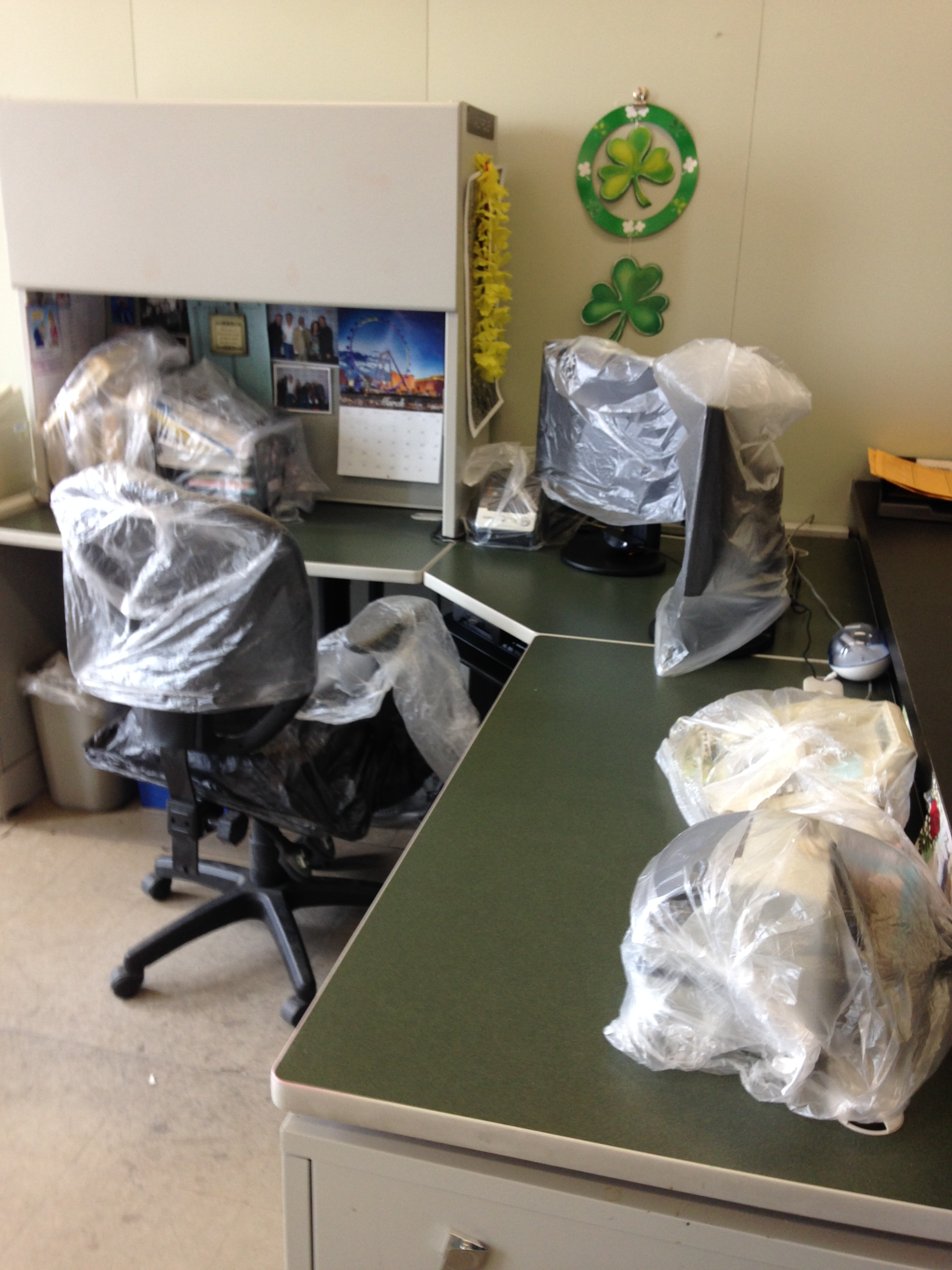 An office work station covered in anticipation of pesticides being sprayed for bedbugs in the Erie County Comptroller's Office.