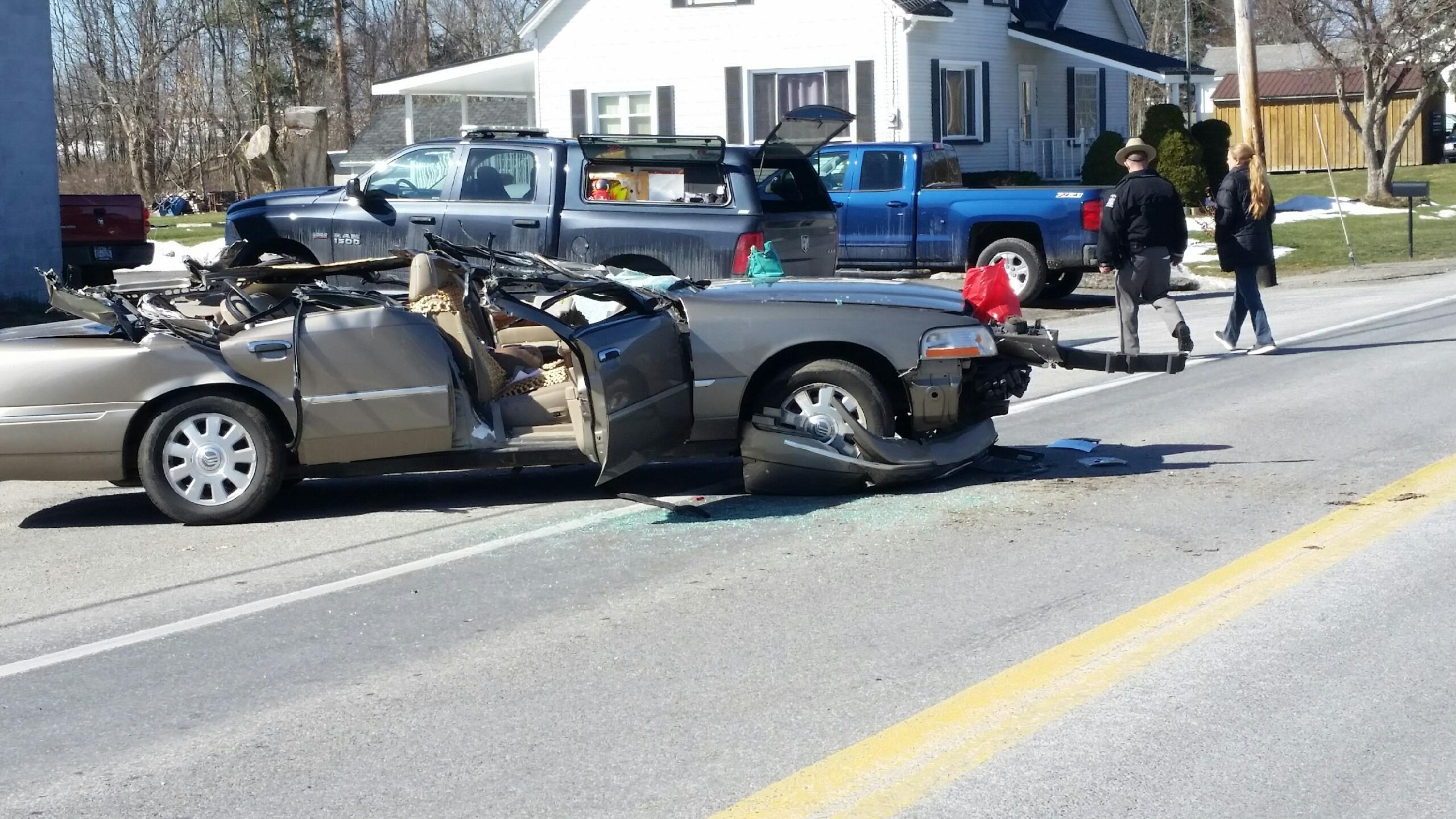 State police photo of Thursday's accident scene in the Town of Alabama in Genesee County.