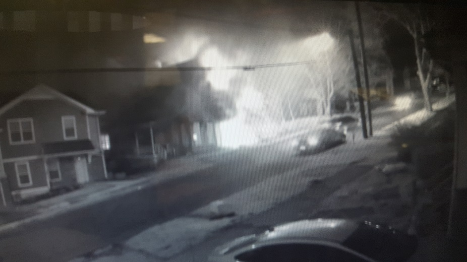 A surveillance image from a fire at 650 E. Sixth St. on March 24. (Photo courtesy of Jamestown Police)