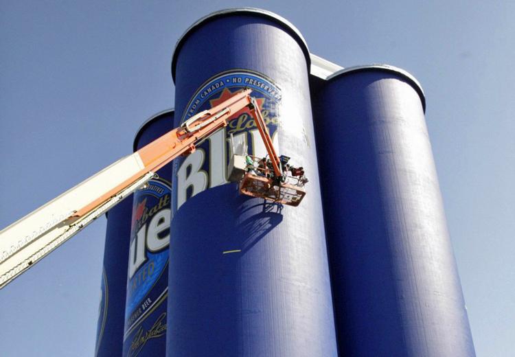 The Labatt 'Six Pack' debuted on grain elevators along the Buffalo River several years ago. (Buffalo News file photo)