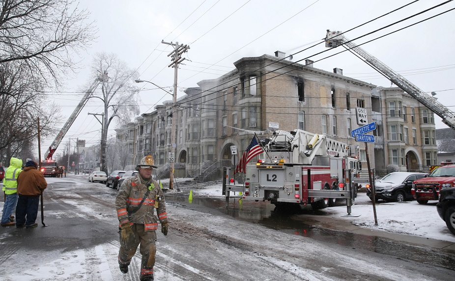 A fundraiser will be held Saturday for those displaced by the apartment building fire on Lafayette Avenue. (Sharon Cantillon/Buffalo News)