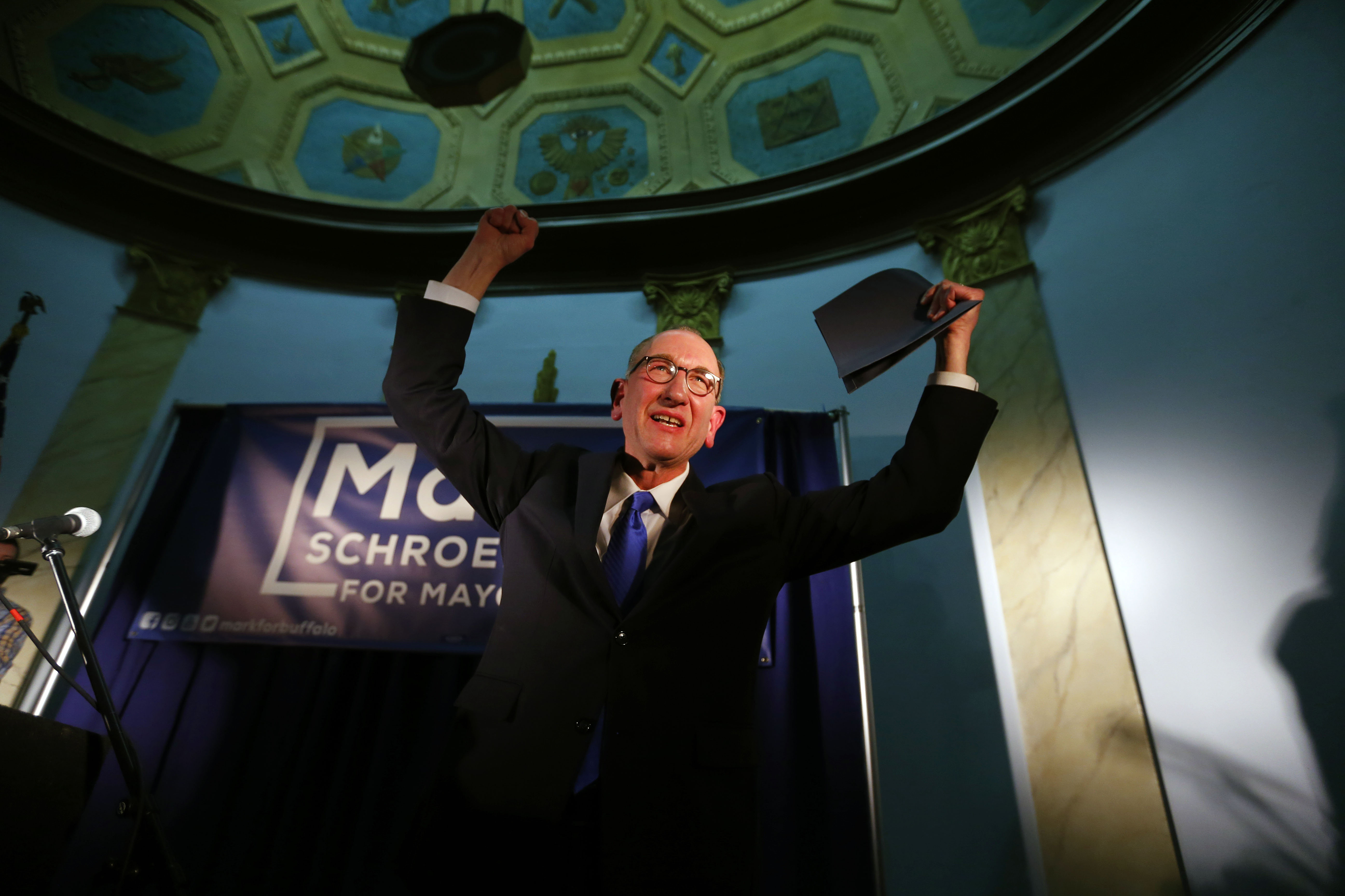 Mark Schroeder officially announces his candidacy for mayor of the city of Buffalo at the Historic Lodge in South Buffalo on Sunday, March 5, 2017.       (Mark Mulville/Buffalo News)