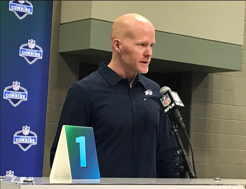 Bills coach Sean McDermott meets with media at the NFL Combine. (Jay Skurski/Buffalo News)