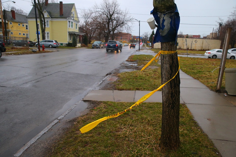 Police tape remained Tuesday morning near a shooting scene at Michigan Avenue and Best Street. (John Hickey/Buffalo News)