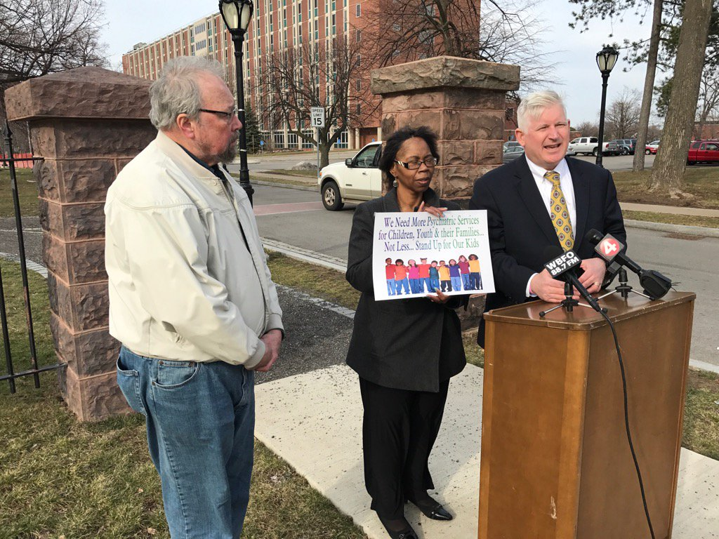 Assemblyman Kearns held a press conference outside the  Buffalo Psychiatric Center to protest the move of children to the facility. (Matt Gryta/Buffalo News)
