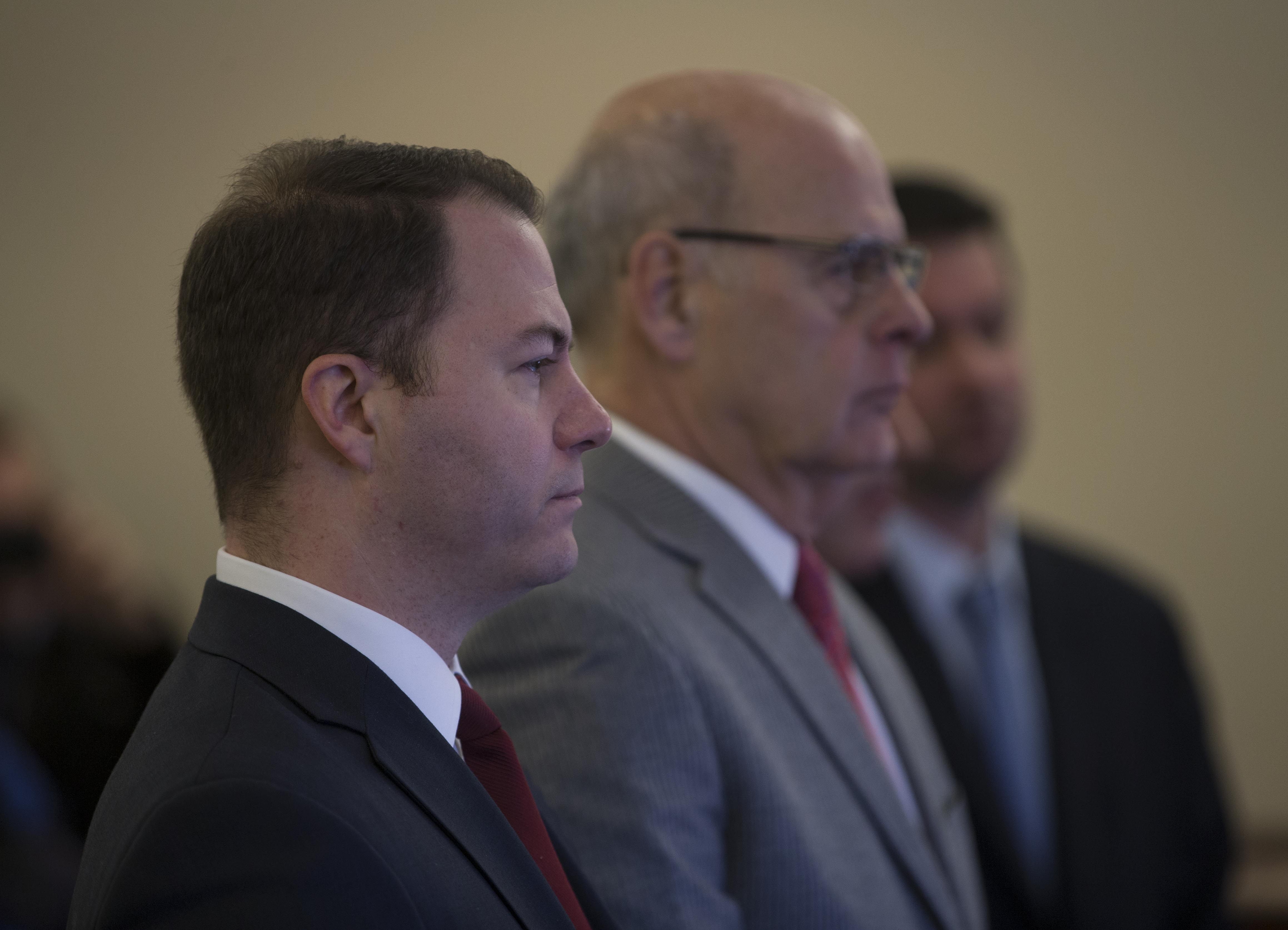 Sen. Robert Ortt. left, pleaded not guilty in Albany County Court Thursday. (Photo by Mike Groll)