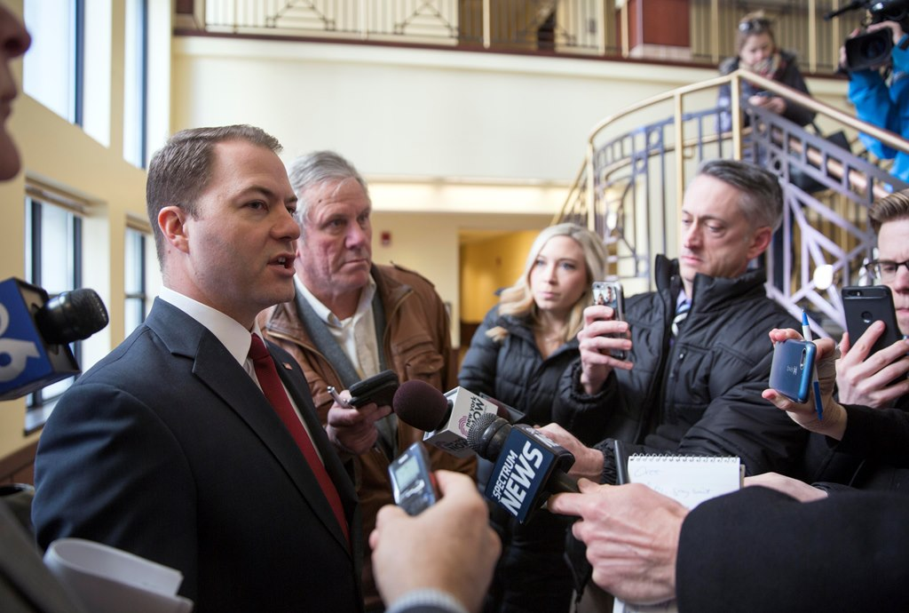 State Sen. Robert Ortt speaks to the media after pleading not guilty in Albany County Court Thursday. (Mike Groll/Special to The Buffalo News)