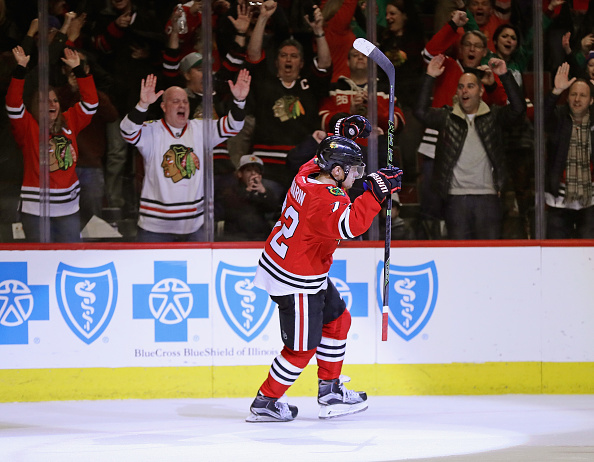Artemi Panarin celebrates his shootout winner Friday night against the Islanders (Getty Images).