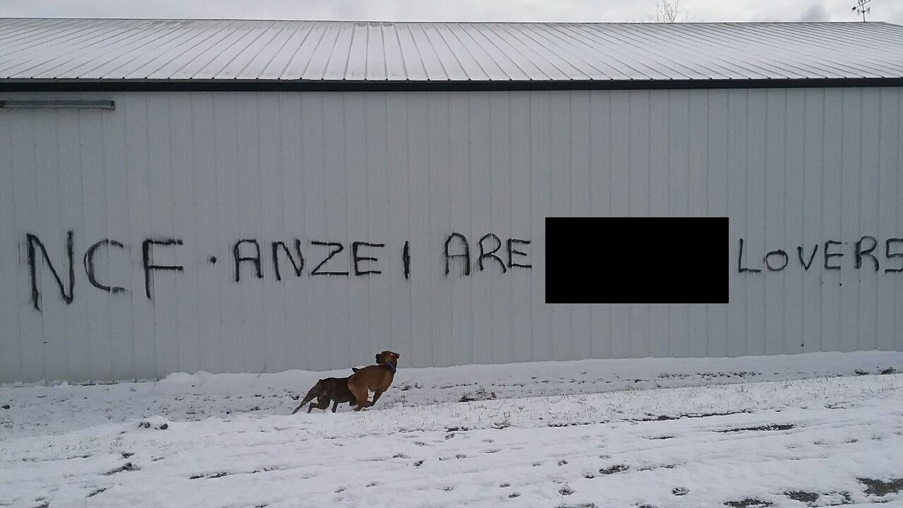 The racist grafitti, with the offending word blacked out by The Buffalo News, that was discovered at a Genesee County property. (Provided photo)
