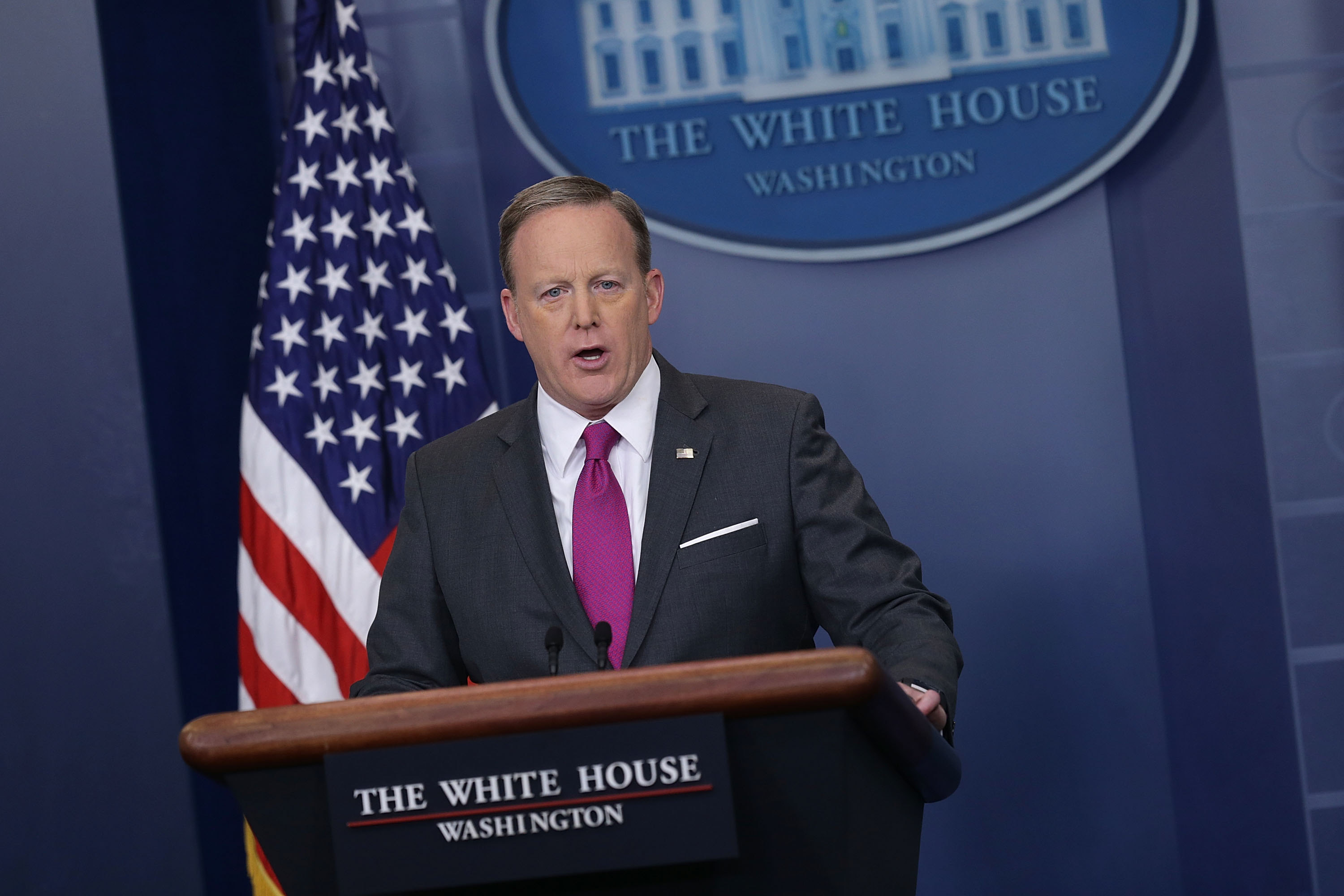 White House Press Secretary Sean Spicer speaks during the daily White House press briefing. (Getty Images)