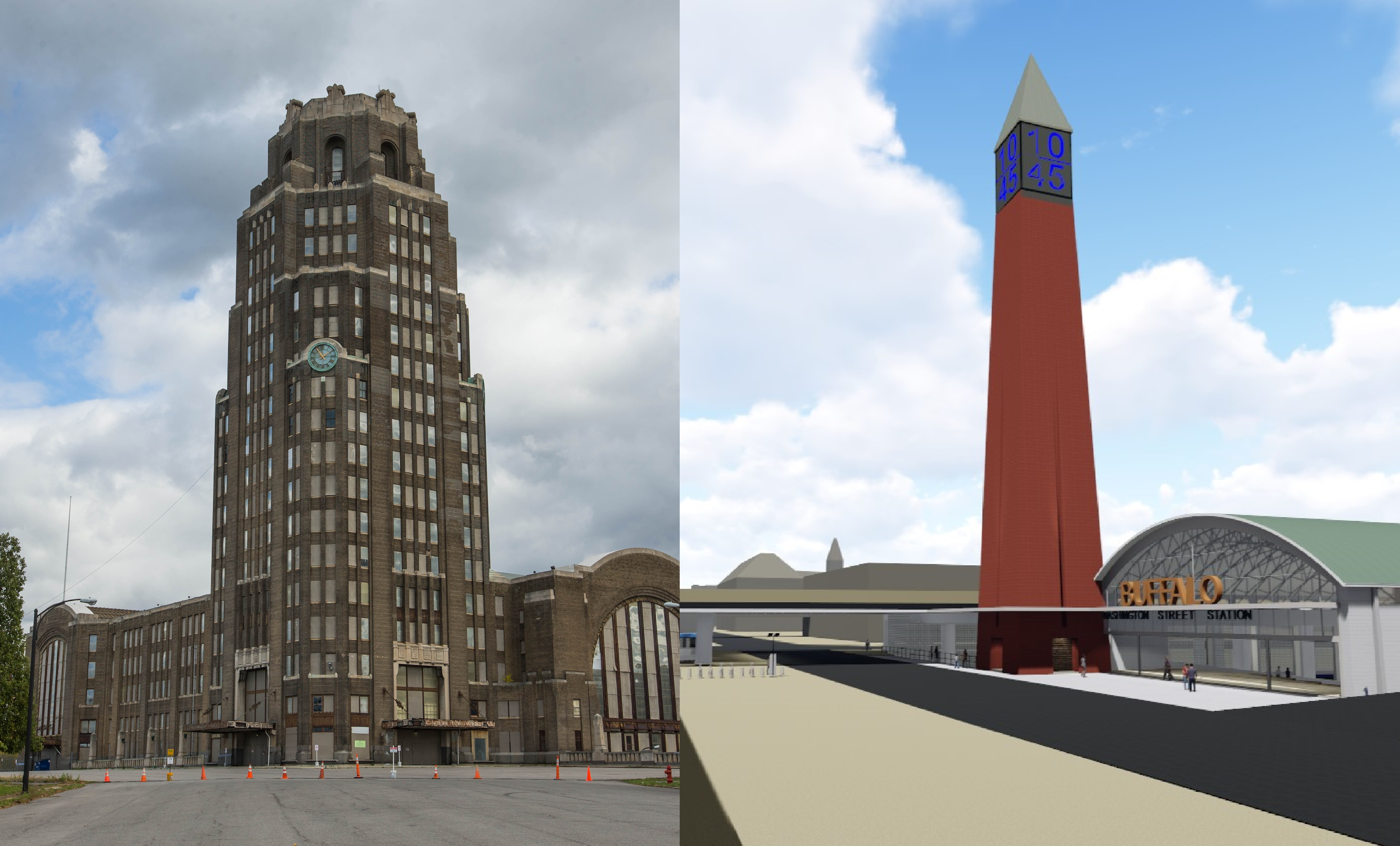 The Central Terminal on the East Side, left, is one site being considered for a new Amtrak station. So is a proposal by the Campaign for Greater Buffalo that would create a downtown train and bus facility across the tracks from the current Exchange Street station, off Washington Street.