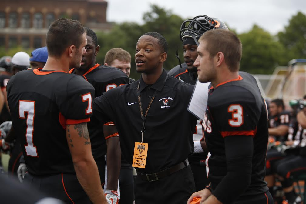 Jordan Hogan, center, accepted a coaching position on the staff of Division II Stonehill College in late February. The Newfane grad had coached at Buffalo State for four years. (Photo provided by Dave DeLuca)