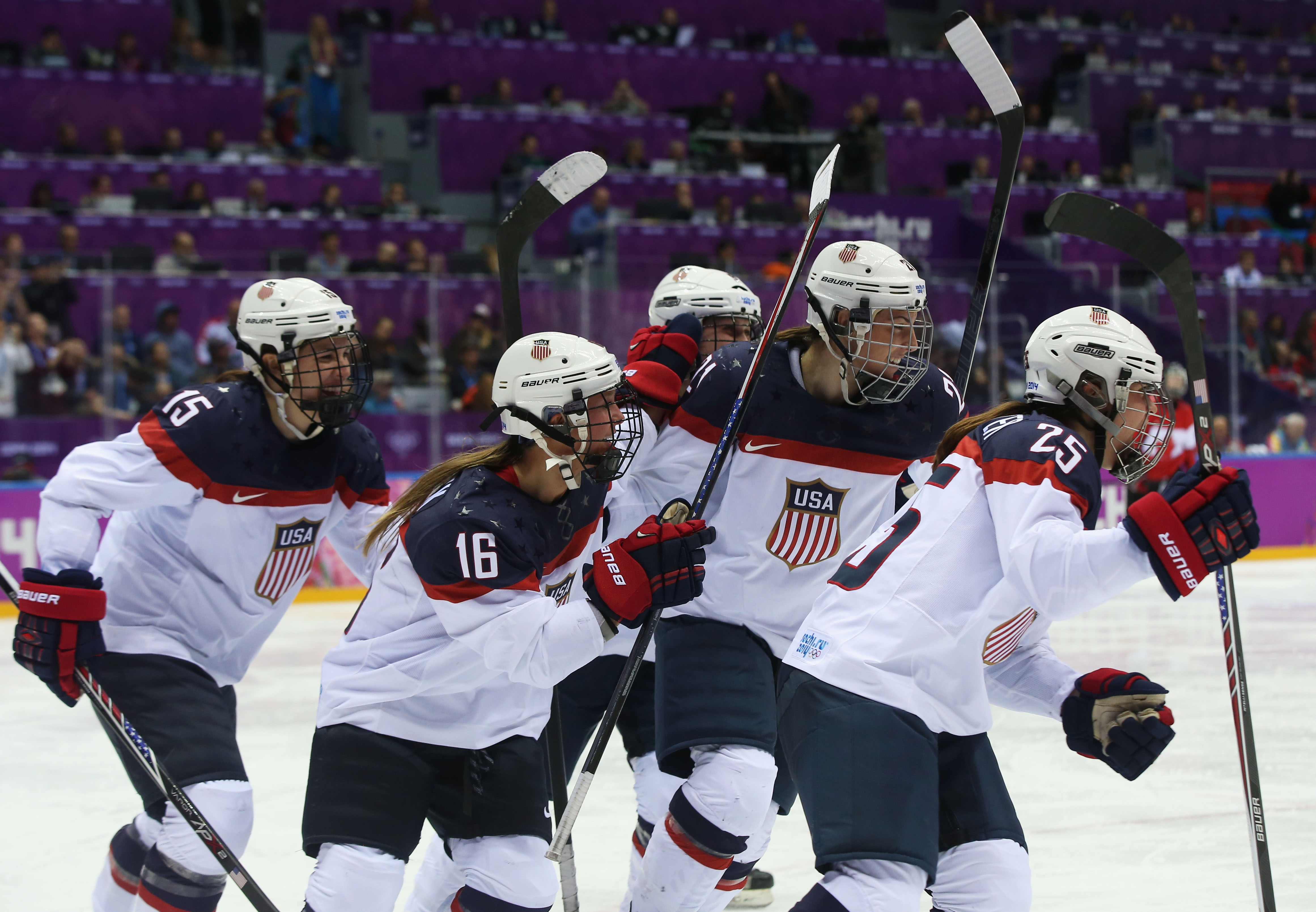 The members of the U.S. Women's National Hockey Team are unified in their demands of USA Hockey.  (Getty Images)