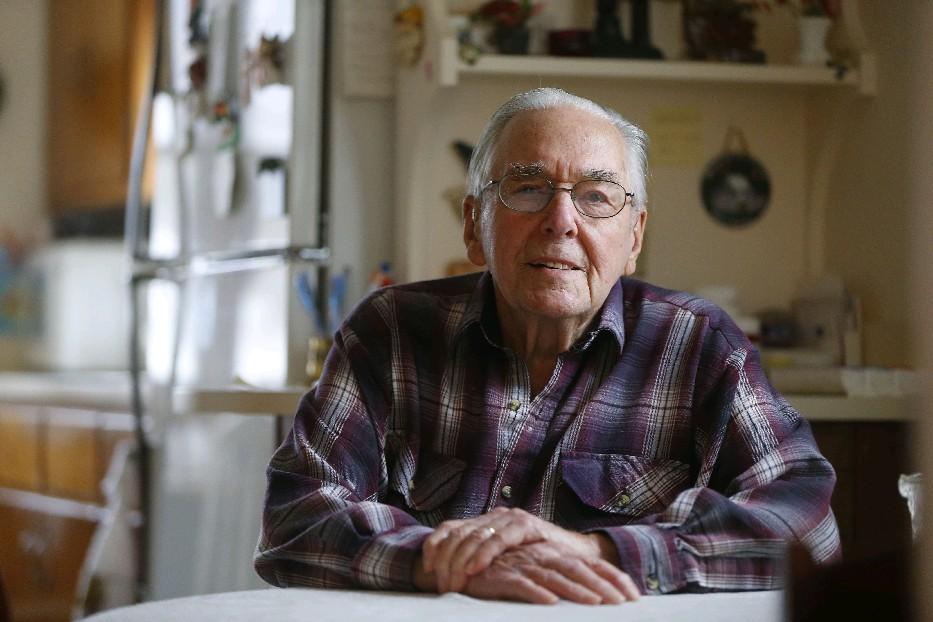 World War II vet Lester J. Bishop survived a German prison camp and returned home to become Little Valley postmaster. (Mark Mullville/Buffalo News)