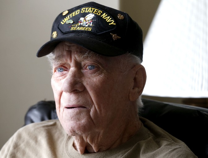 WWII Navy vet Norman R. Hameister is thankful he was never wounded while doing construction and cargo transport in the Pacific Theater. (Robert Kirkham/Buffalo News)