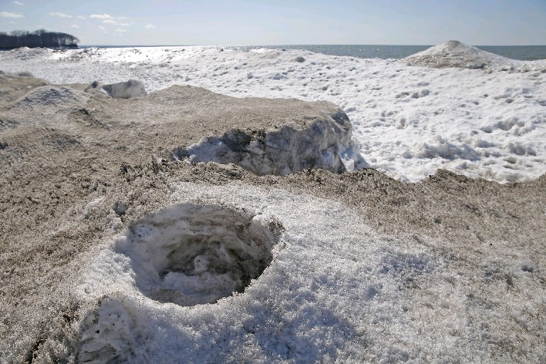 Ice volcanoes were visible Wednesday on the Lake Erie shore at Evangola State Park. (Robert Kirkham/Buffalo News)