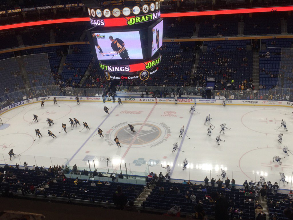 The Sabres and Lightning warm up in KeyBank Center (Mike Harrington/Buffalo News).