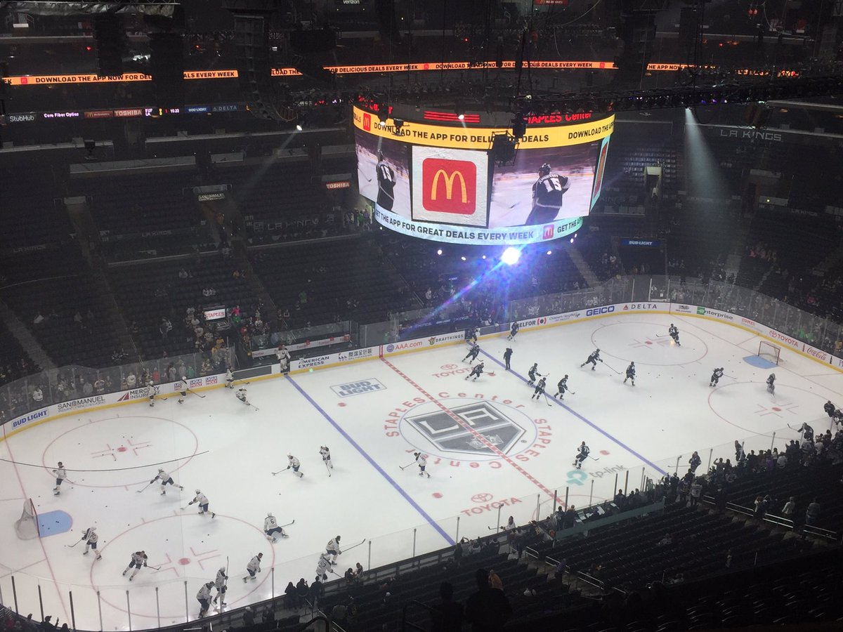 The Sabres and Kings warm up in Staples Center (Mike Harrington/Buffalo News).