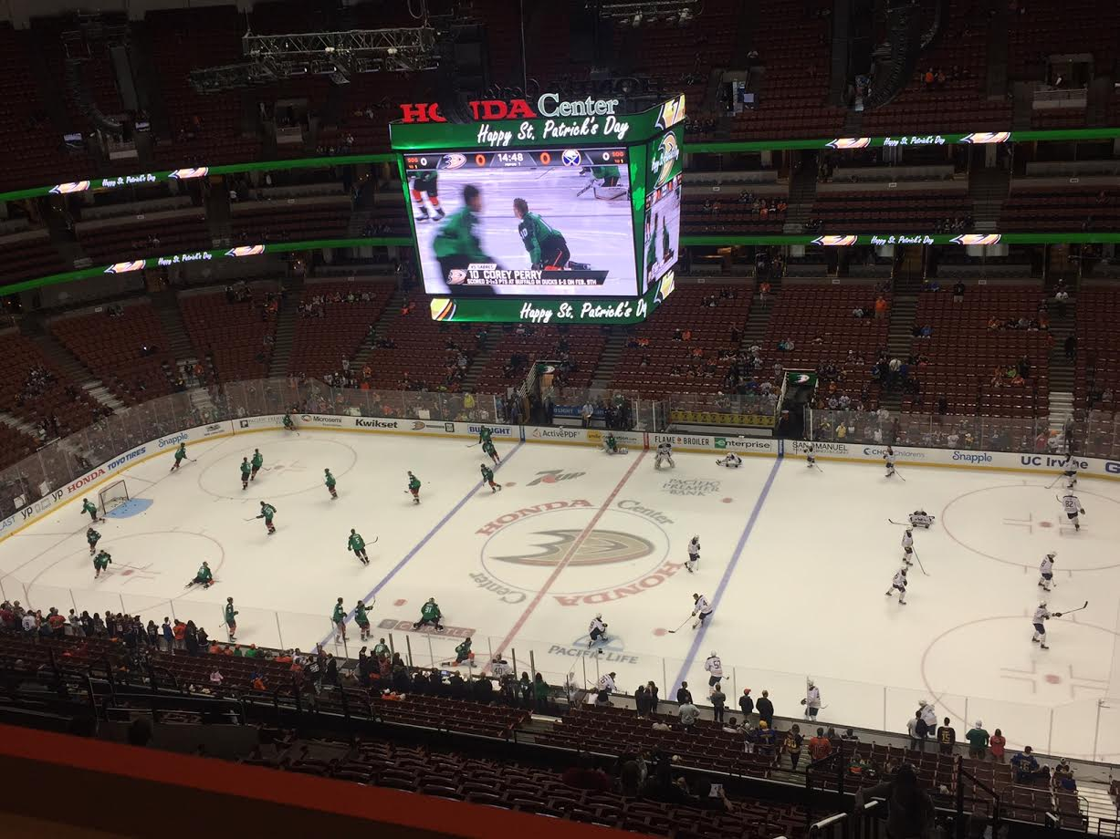 The Sabres and Ducks, wearing St. Patrick's Day green, warm up in Honda Center (Mike Harrington/Buffalo News).