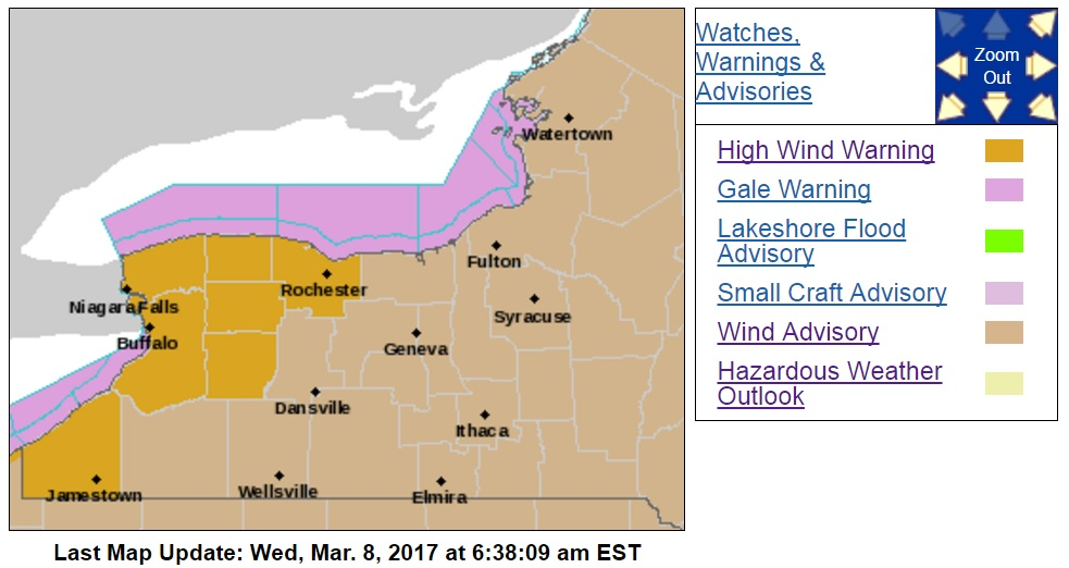 A high wind warning is in effect Wednesday for Erie, Niagara, Chautauqua, Orleans, Genesee and Wyoming counties. (National Weather Service)