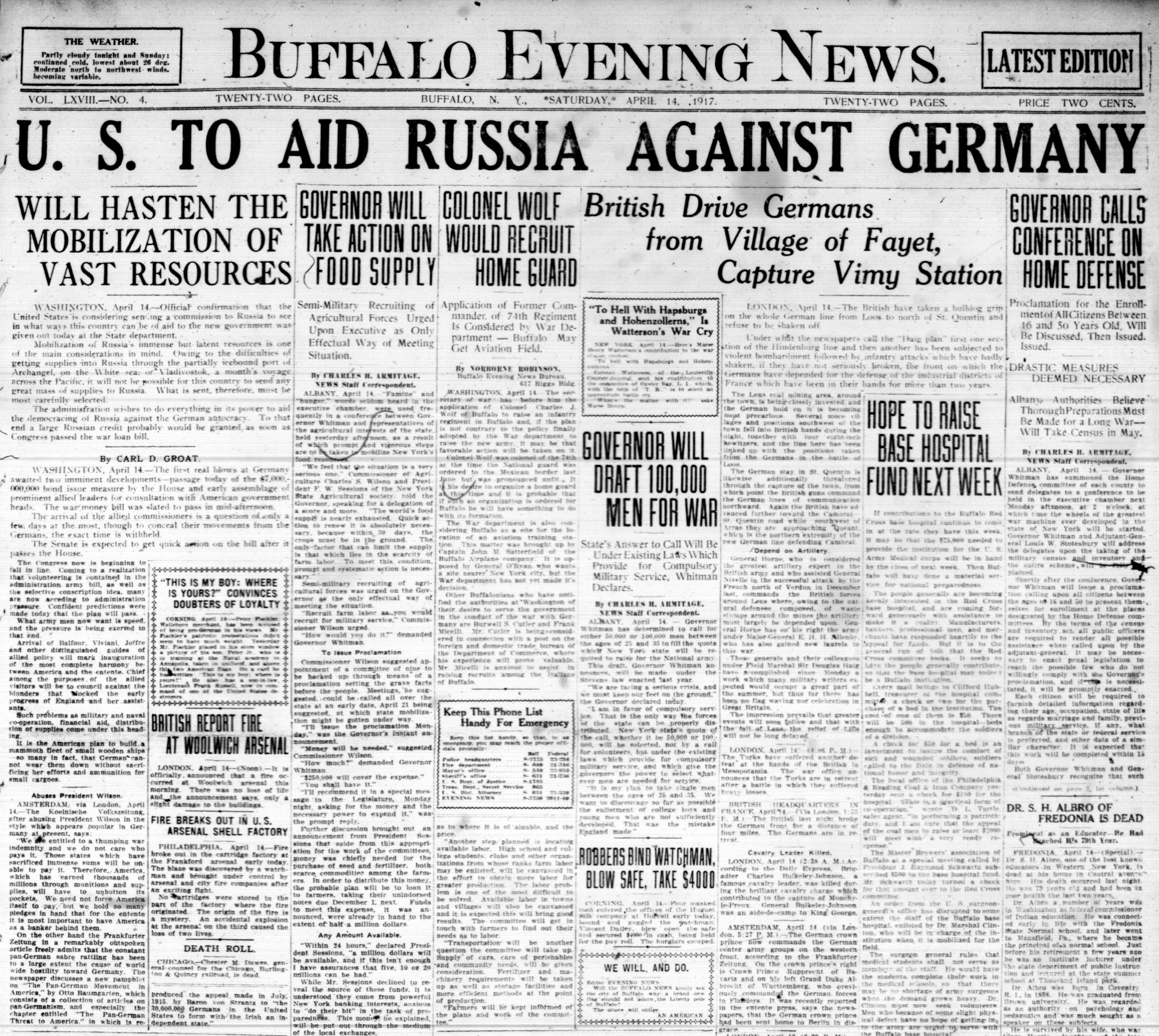 Front page, April 14, 1917: U.S. to aid Russia against