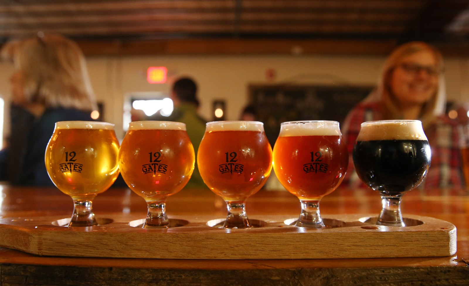 A flight of beers from 12 Gates, which just announced the canning of its coffee porter. (Sharon Cantillon/Buffalo News file photo)