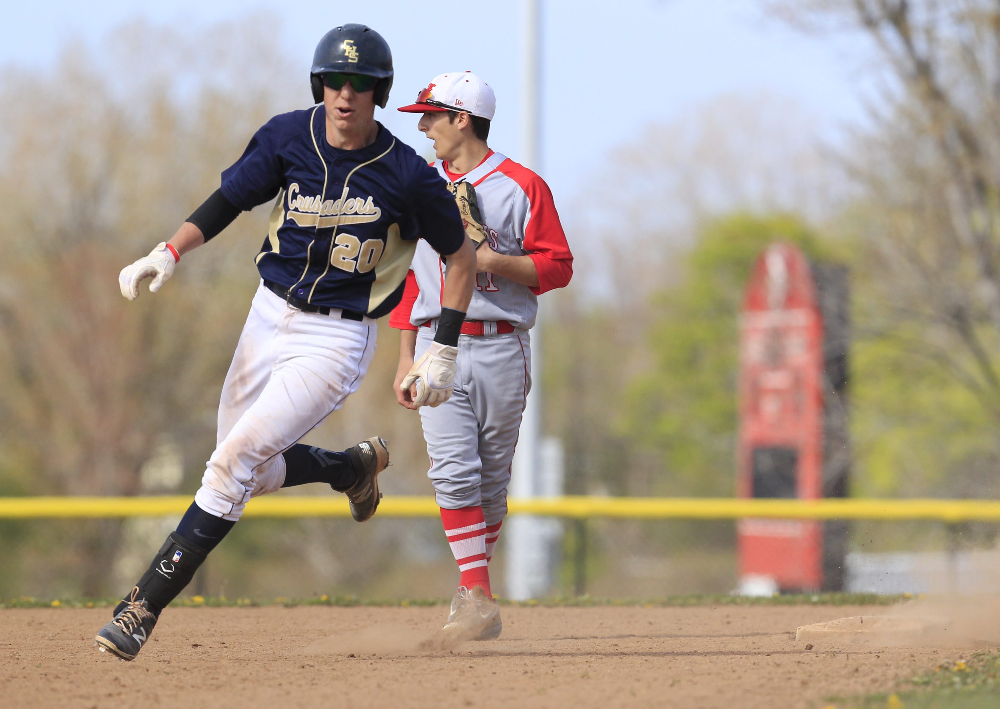Canisius's Will Lawrence rounds second as he hits a triple against St. Francis during the 2016 season. (Harry Scull Jr./Buffalo News)