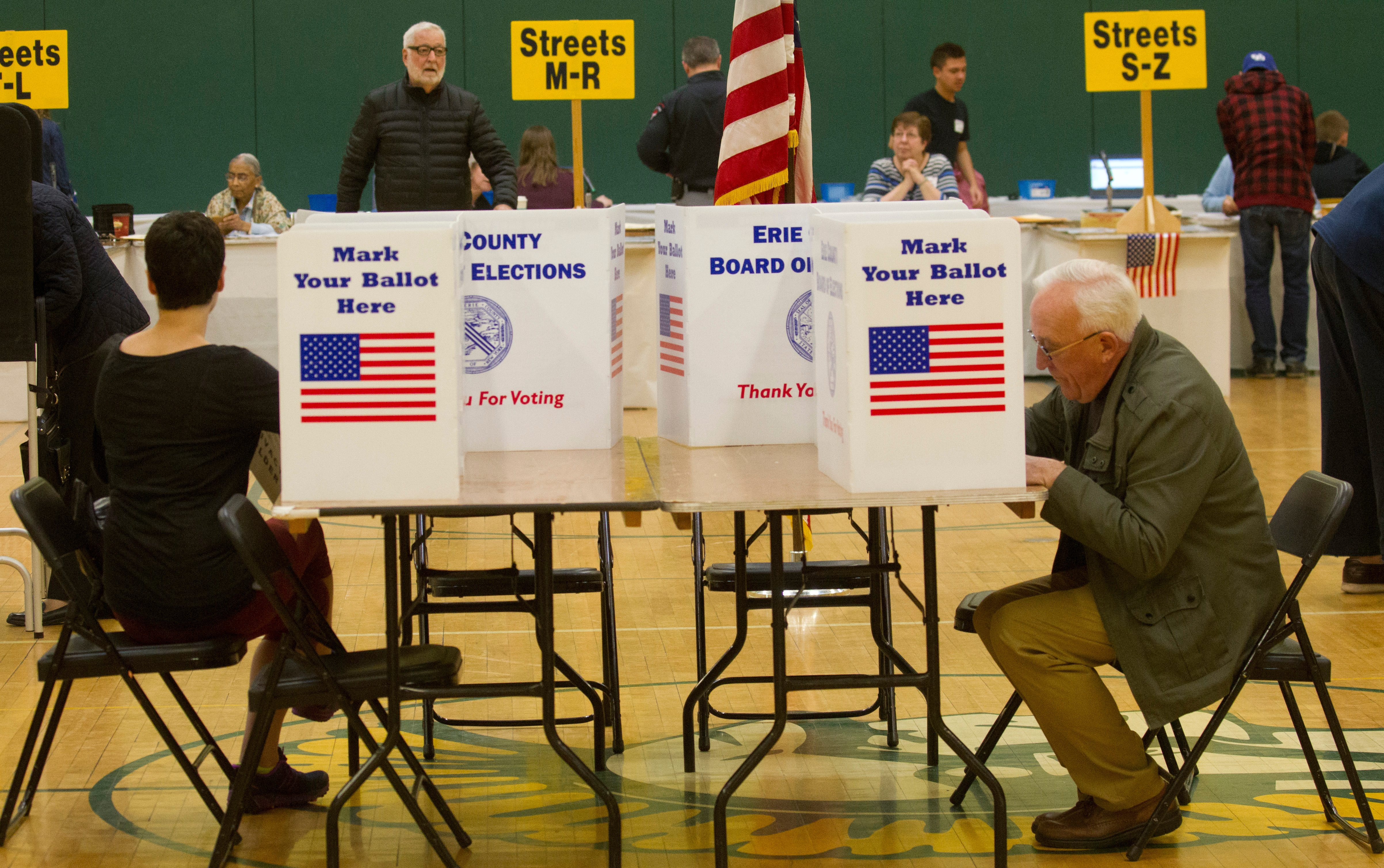 Voters at last year's school election in Williamsville North High School, in Williamsville, N.Y., on Tuesday May 17, 2016.   (John Hickey/Buffalo News)