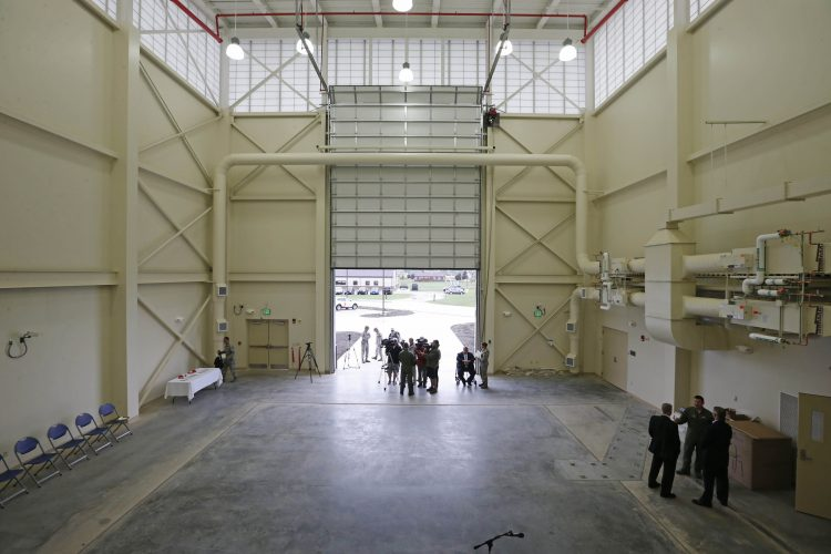 A new facility for a flight simulator was unveiled at the Niagara Falls Air Reserve Station, Tuesday, Aug. 16, 2016. The $5.2 million facility is designed to house a state-of-the-art simulator to train pilots, but the installation of the  simulator has not been scheduled by the Air Force.  (Derek Gee/Buffalo News)
