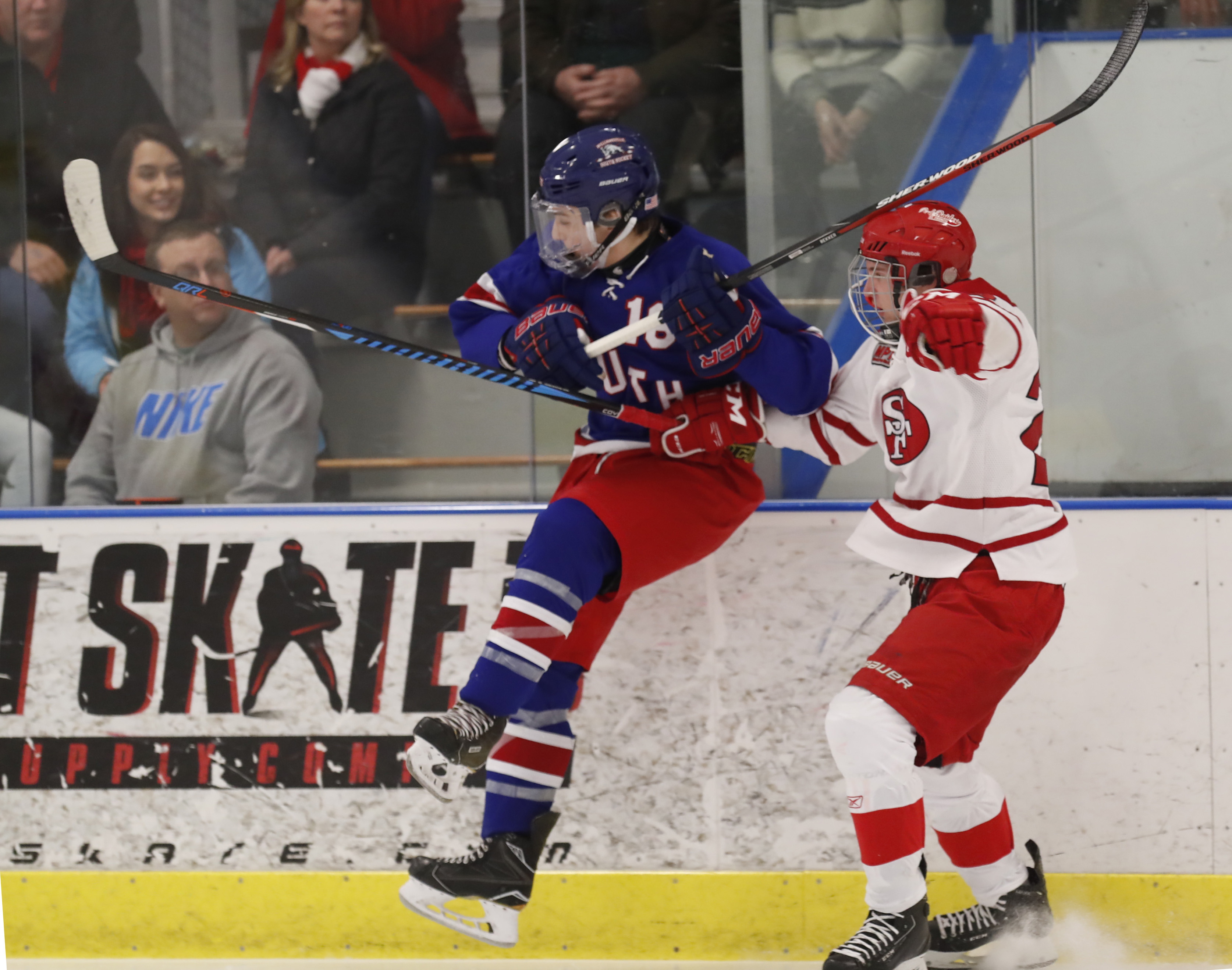 St. Francis' Domonic Galanti checks Williamsville South's Amthony Lazarony during first period action at the Northtown Center on Saturday, Feb. 11, 2017. (Harry Scull Jr./Buffalo News)