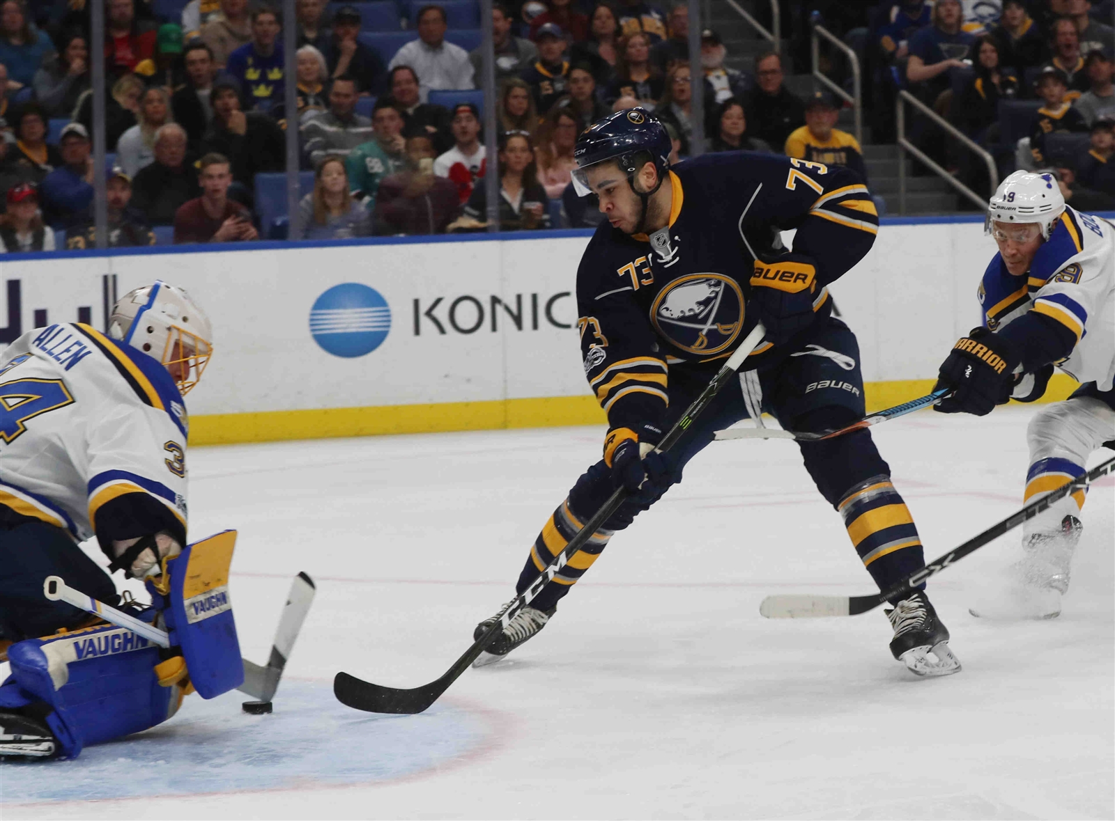 Nick Baptiste led the Sabres in goals per 60 minutes, scoring on 18.8 percent of his shots. (James P. McCoy/Buffalo News)