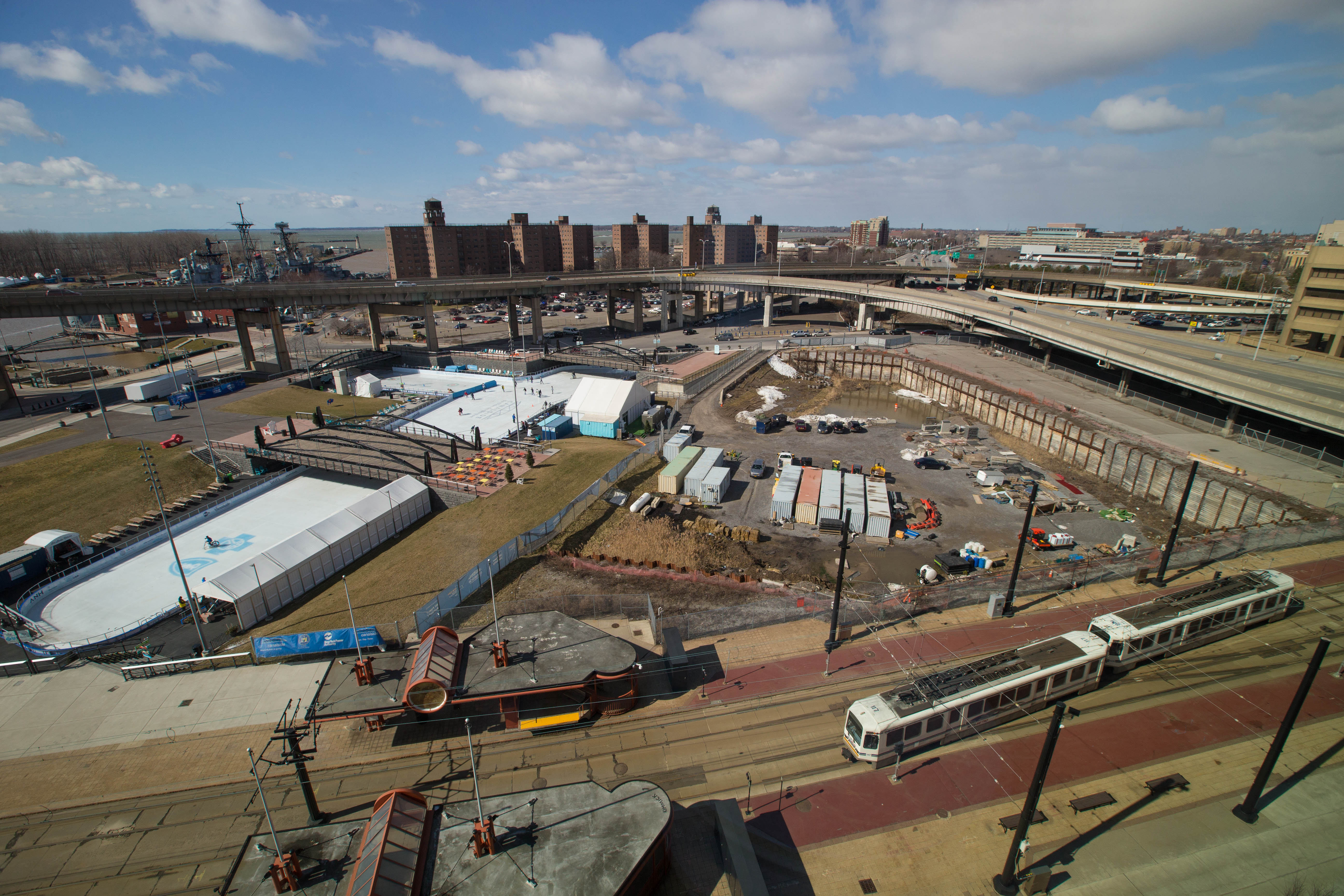 Canalside and the yet to be developed portion of the former Aud site, Sunday, Feb. 26, 2017.  (Derek Gee/Buffalo News)