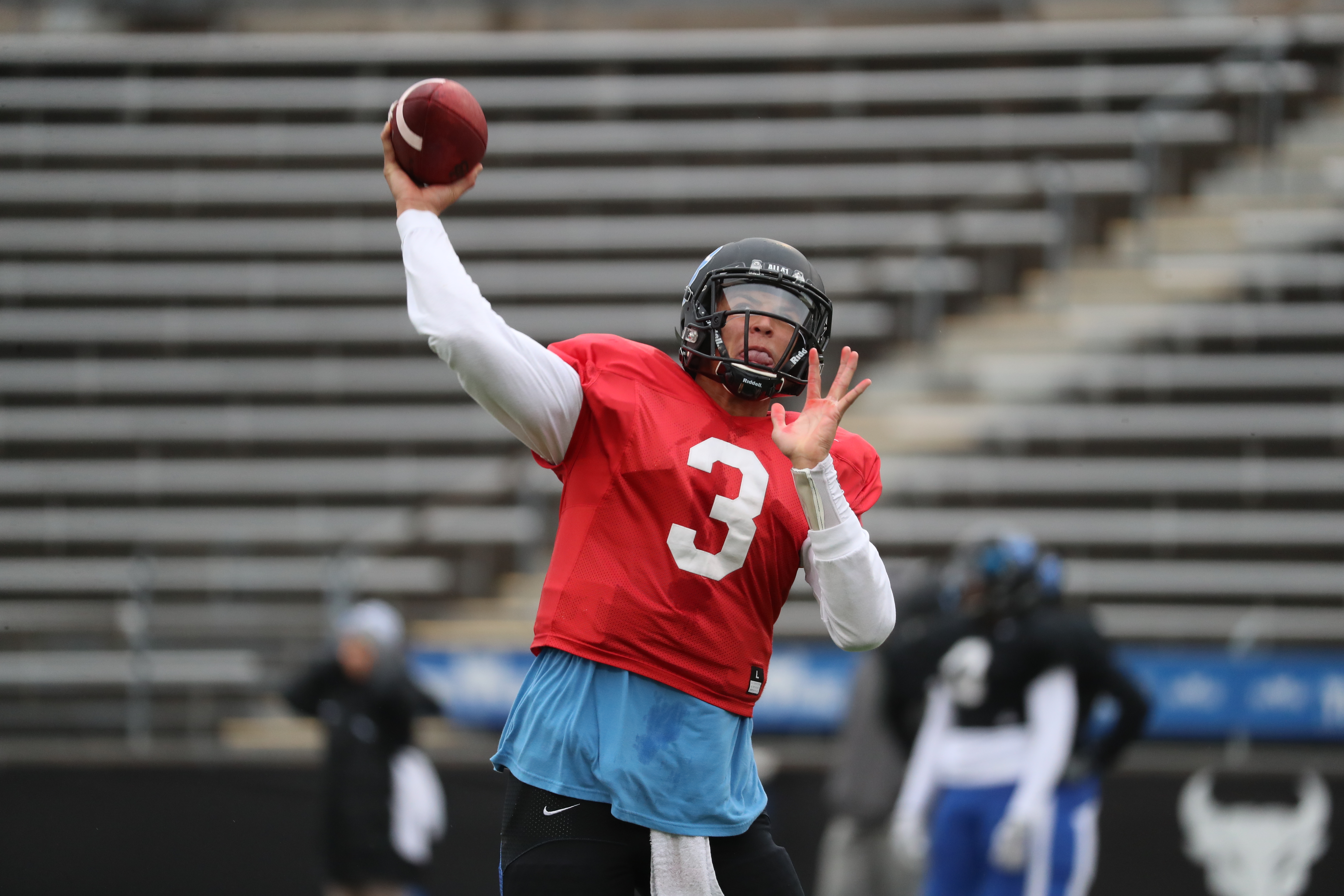 UB quarterback Tyree Jackson works out with his team Saturday. (James P. McCoy/Buffalo News)