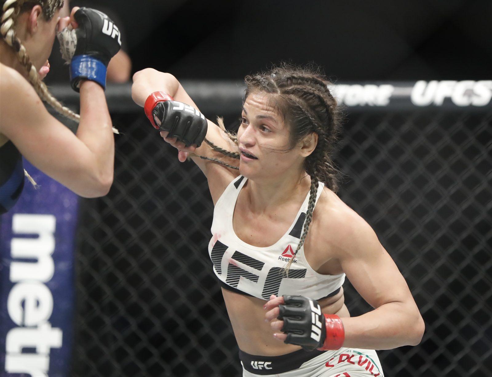 Cynthia Calvillo defeats Pearl Gonzalez during UFC 210 at KeyBank Center. (Harry Scull Jr./Buffalo News)