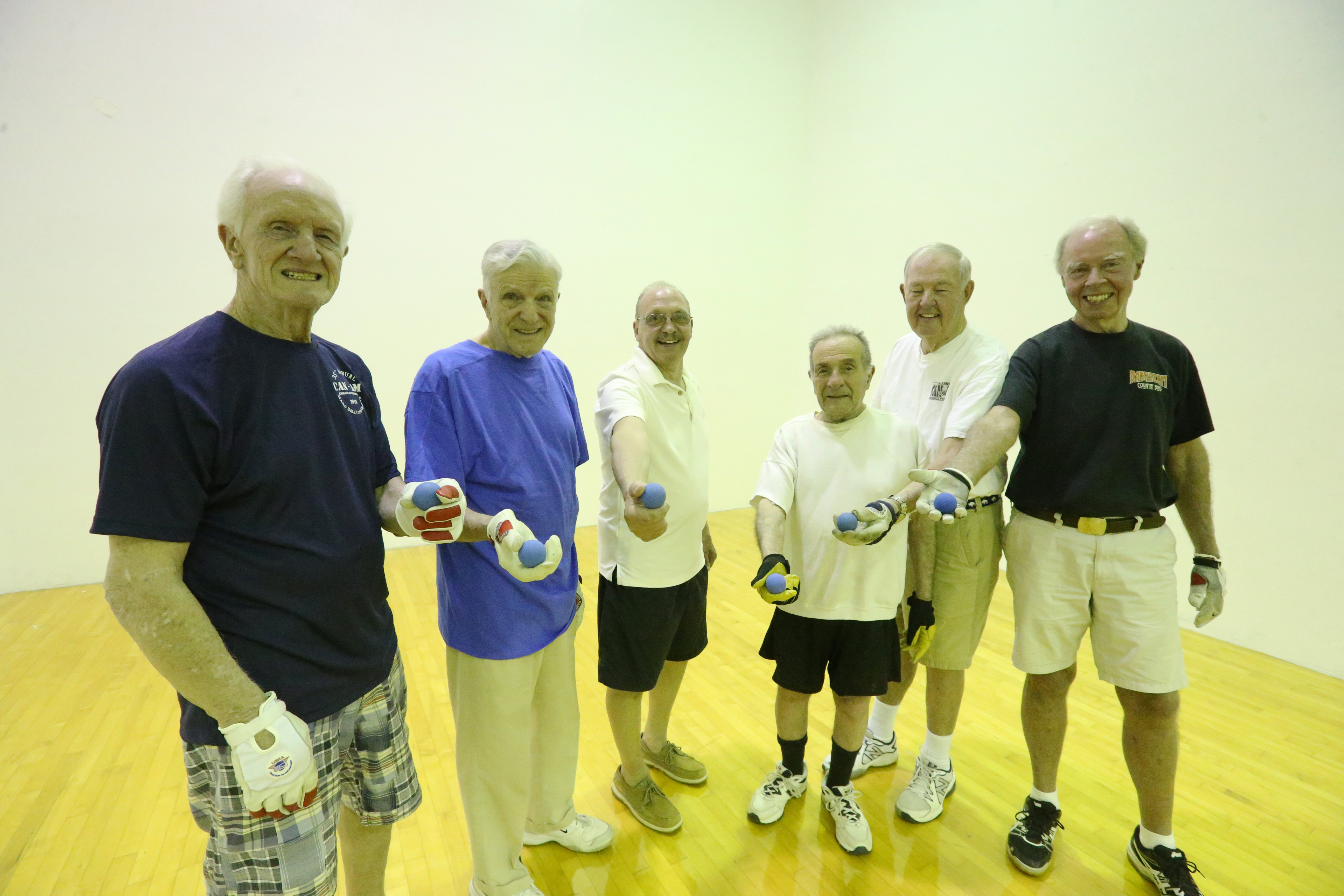 Tommy Ryan, Mike Caliguiri, Robin Block, Joe Heiney, Tom Higgins and Jimmy Roberts at the handball court at the Knights of Columbus on Delaware Avenue. (James P. McCoy/Buffalo News)
