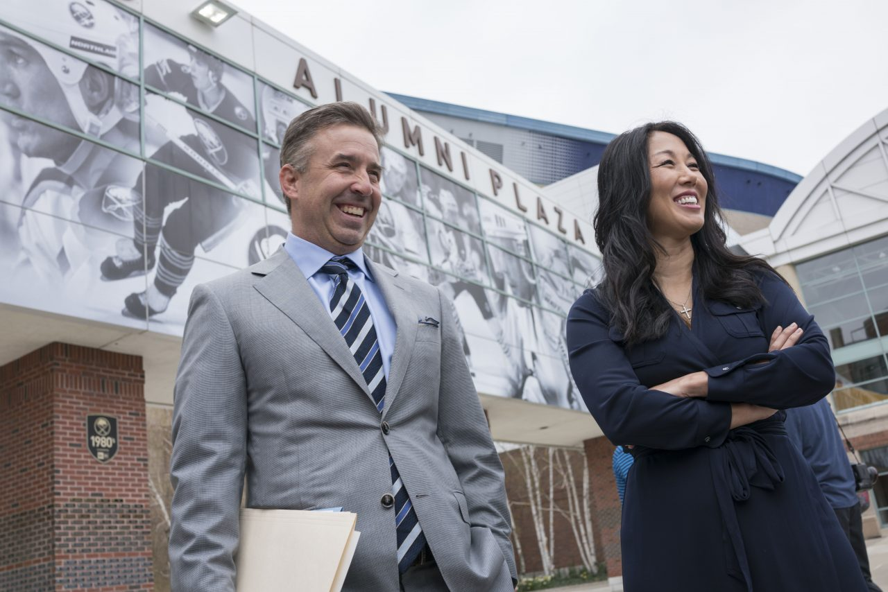 Russ Brandon and Kim Pegula. (Derek Gee/Buffalo News file photo)