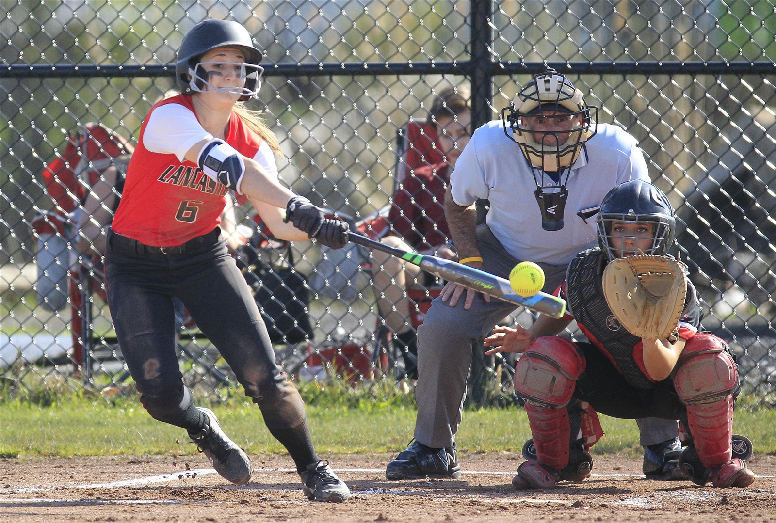 Lancaster's Kara Paradowski hits against Clarence during first inning of its 4-3 win. (Harry Scull Jr./Buffalo News)