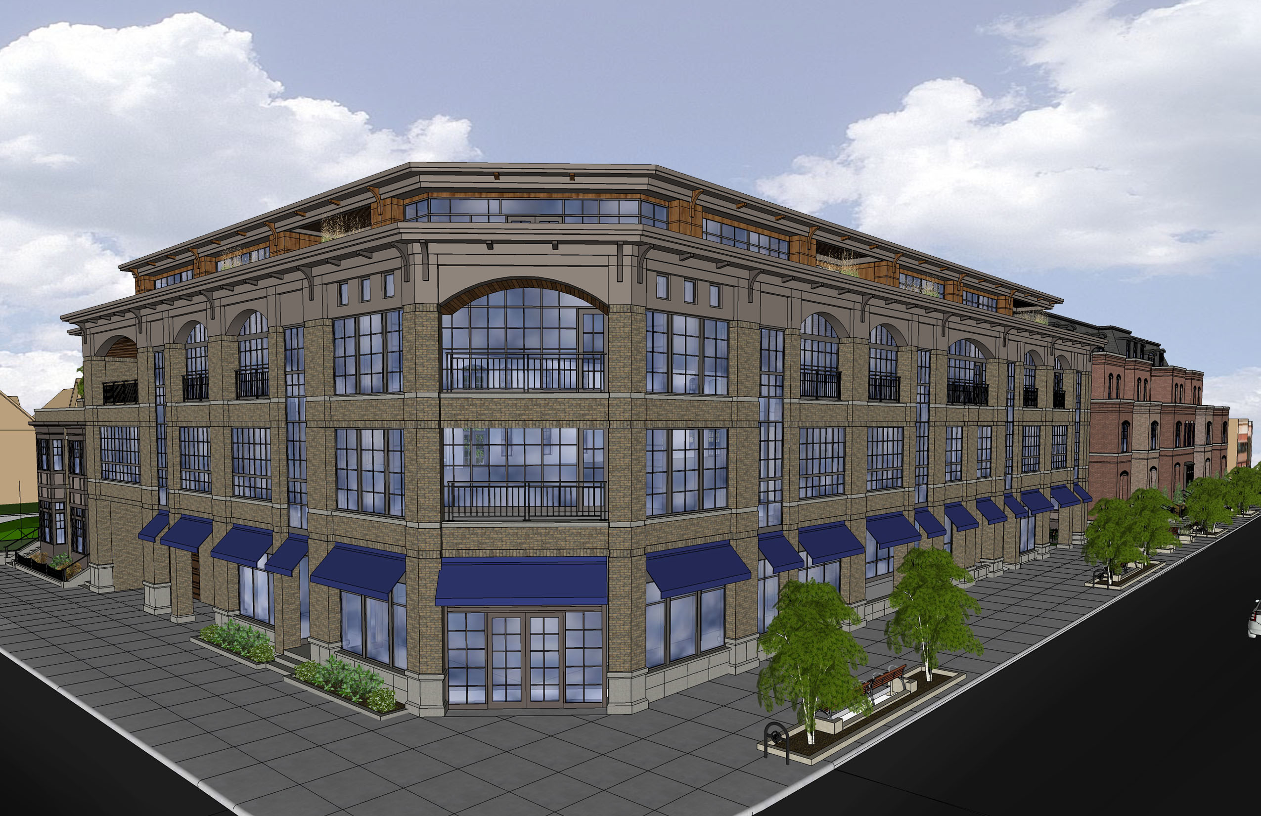 A rendering of Chason Affinity Companies' 1111 Elmwood condo project, at Forest Avenue.