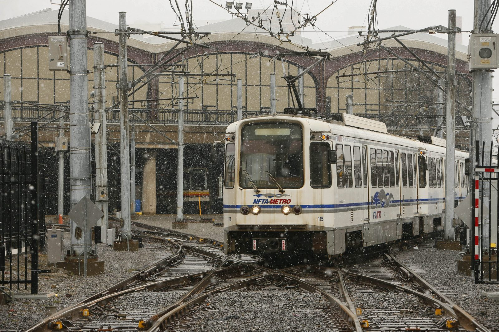 An NFTA Metro Rail car leaves the former DL&W Terminal. (Derek Gee/Buffalo News file photo)