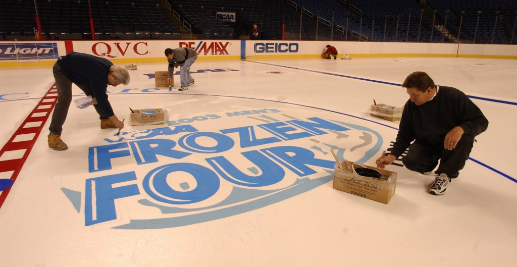 While the men's hockey championships haven't returned to the area since this photo was taken in 2003, Buffalo is no stranger to hosting NCAA events. (James P. McCoy/News file photo)