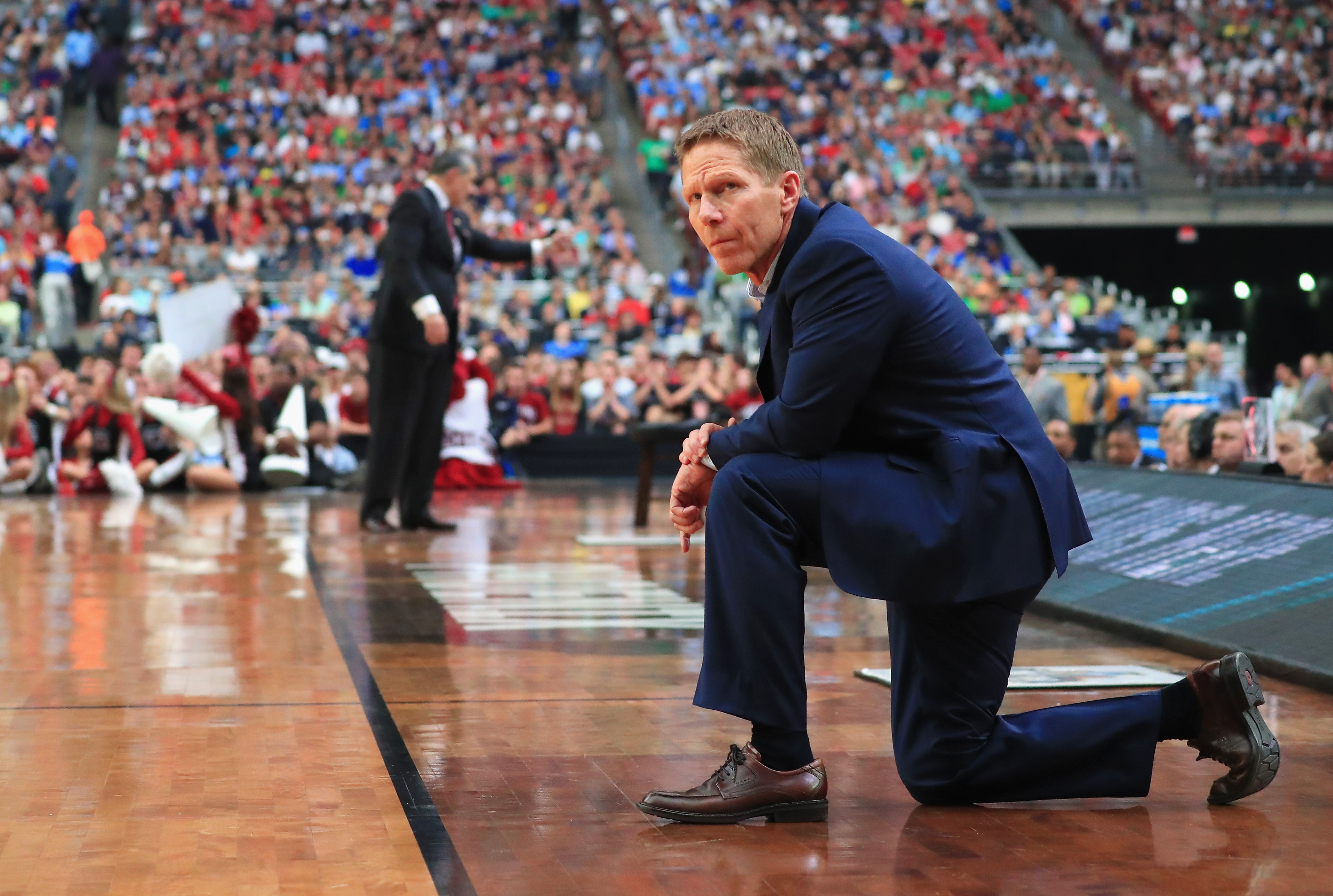 Mark Few has won more than 500 games as coach of Gonzaga, which is one game away from the NCAA championship. (Getty Images)