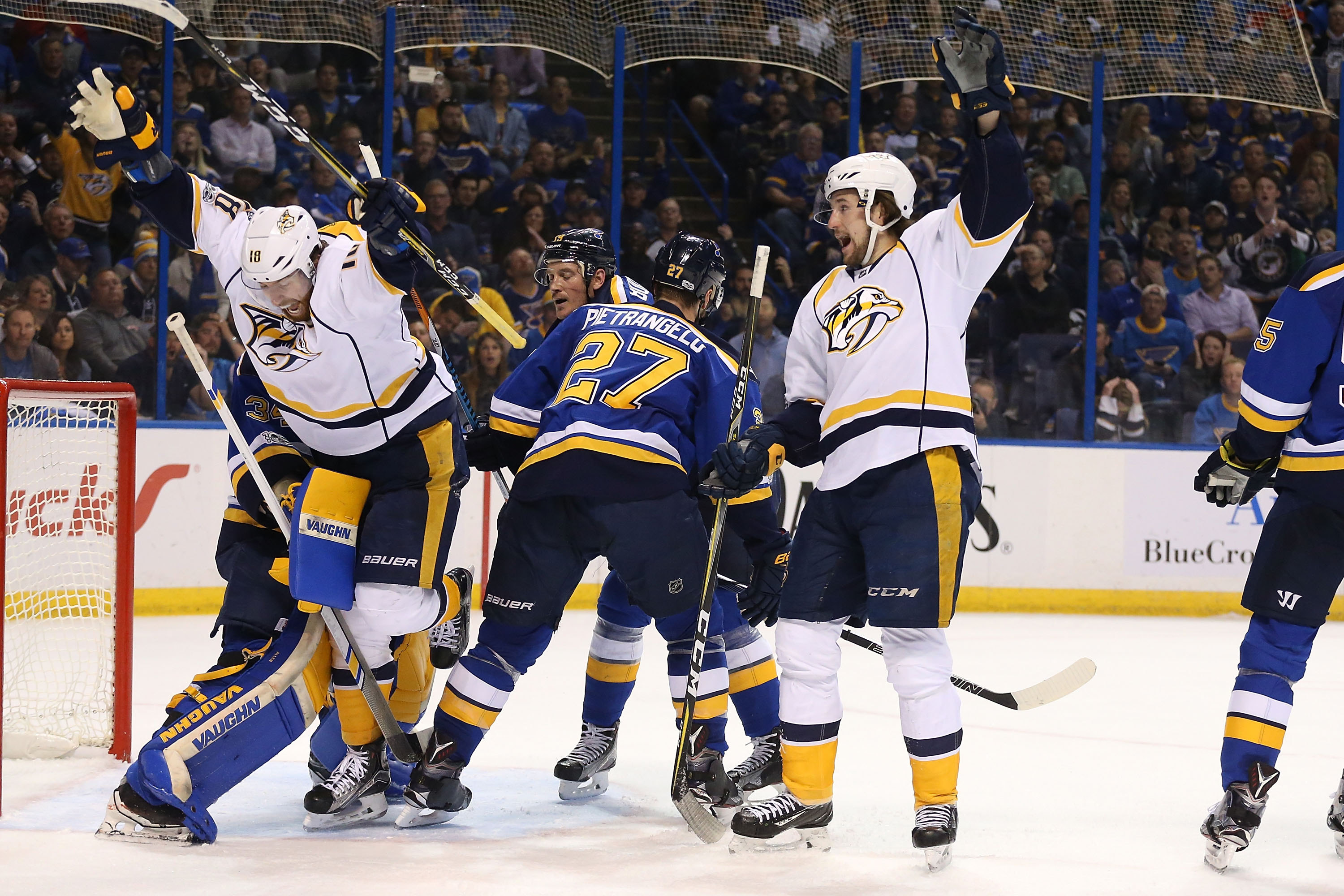 The Buffalo market doesn't have a home team to cheer for in the playoffs, but fans are still tuning in for games like this one between the Nashville Predators and the St. Louis Blues. (Dilip Vishwanat/Getty Images)