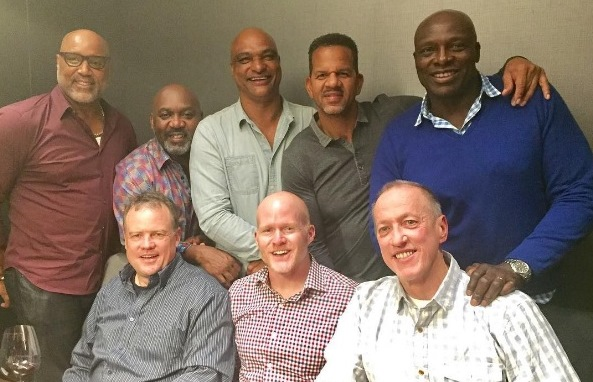 Bills head coach Sean McDermott took seven of the franchise's all-time greats out to dinner at downtown Buffalo steakhouse Sear. Pictured are, clockwise from top left, Cornelius Bennett, Thurman Thomas, Darryl Talley, Andre Reed, Bruce Smith, Jim Kelly, McDermott and Steve Tasker.  (Photo courtesy of Jim and Jill Kelly)