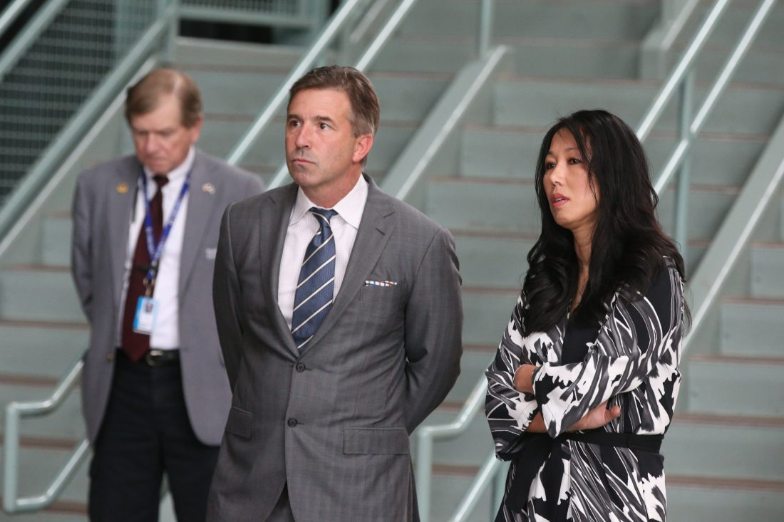 Russ Brandon and Kim Pegula. (James P. McCoy/News file photo)