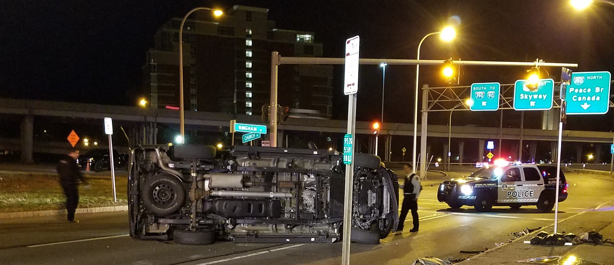 A truck rolled over at the Church Street entrance to I-190 in downtown Buffalo. (Harold McNeil/Buffalo News)