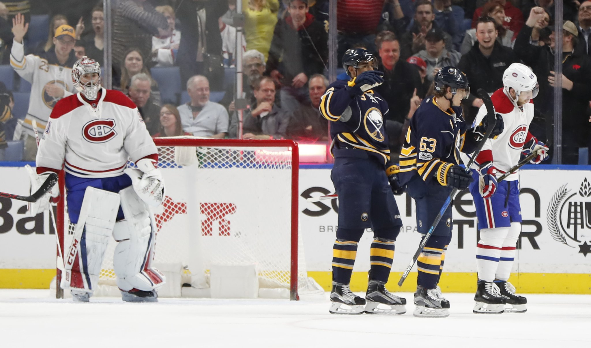 Sabres right wing Tyler Ennis (63) celebrates his second-period goal. (Harry Scull Jr./Buffalo News)